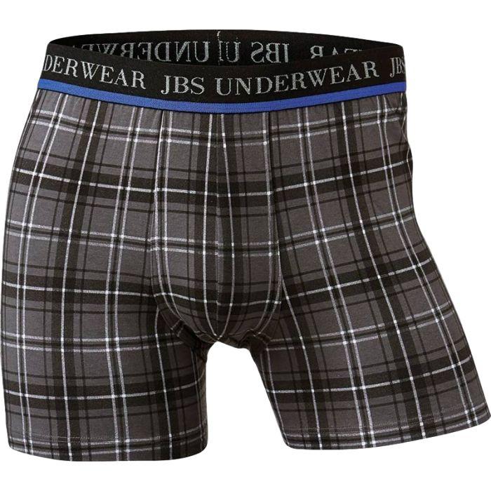Boxershort van JBS, grijs met antraciet-witte ruiten