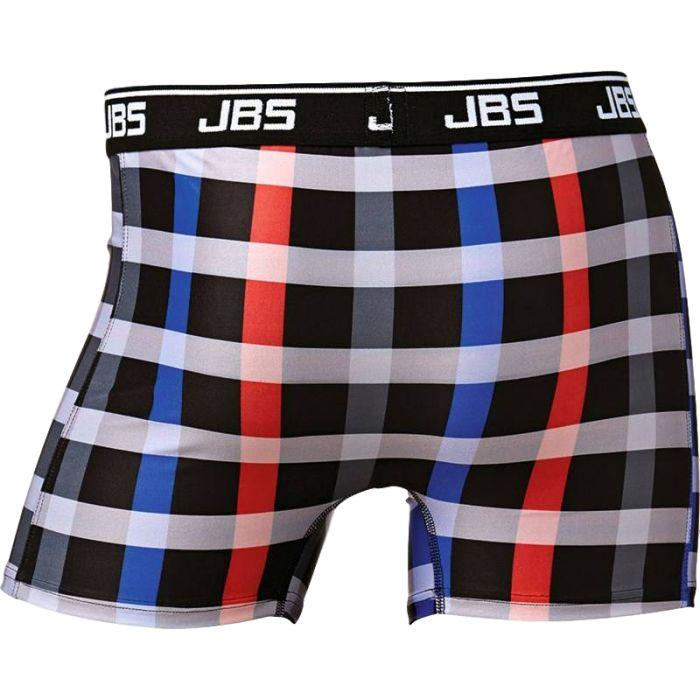 Boxershort van JBS, zwart met een rood-wit-blauwe ruit