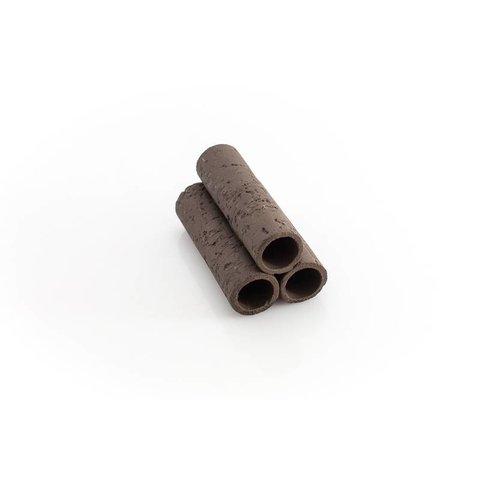 3er Röhrenstapel schwarz/braun mit Muster