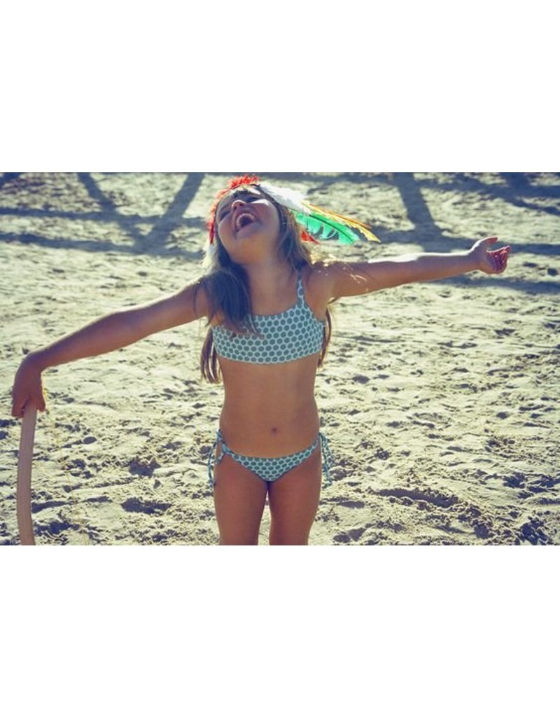 Dosydos Mintgroene bikini met olijfkleurige bolletjes