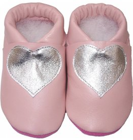 Menu Baby Shoes Baby slippers salmon pink with silver heart