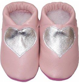 Menu Baby Shoes Bébé pantoufles rose saumon avec coeur en argent