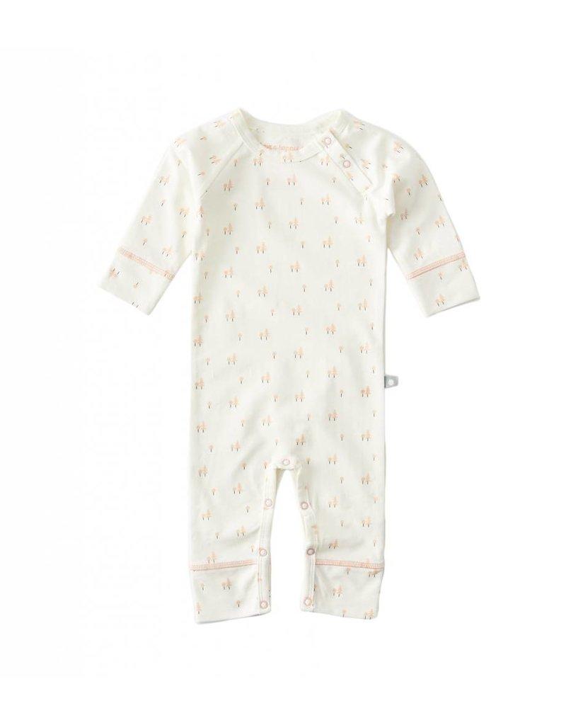 Little Label Pyjama bébé en couleur beige / imprimé saumon