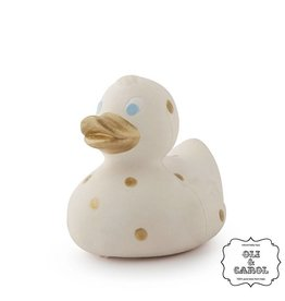 Oli & Carol Retro badeendje crème-goud van 100% natuurrubber