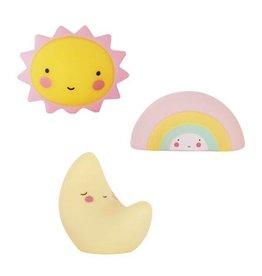 A Little Lovely Company Mini figures soleil, lune, arc-en-ciel