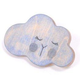 Loullou Patère en bois - nuage bleu