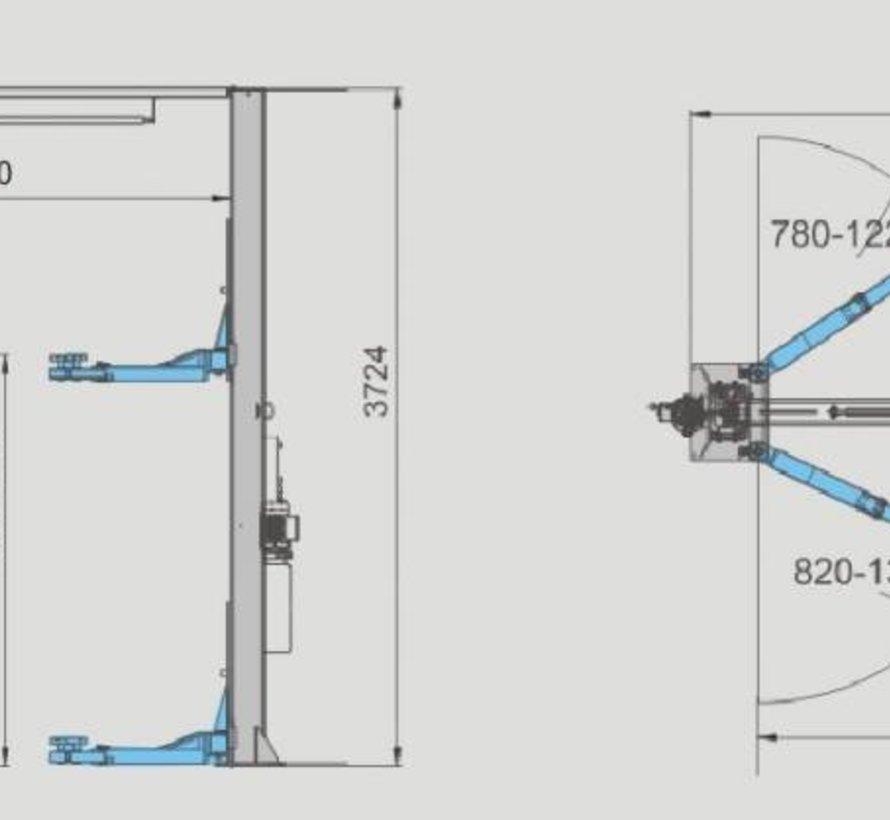 Vloervrij 2 koloms hefbrug 4.0ton volautomatisch