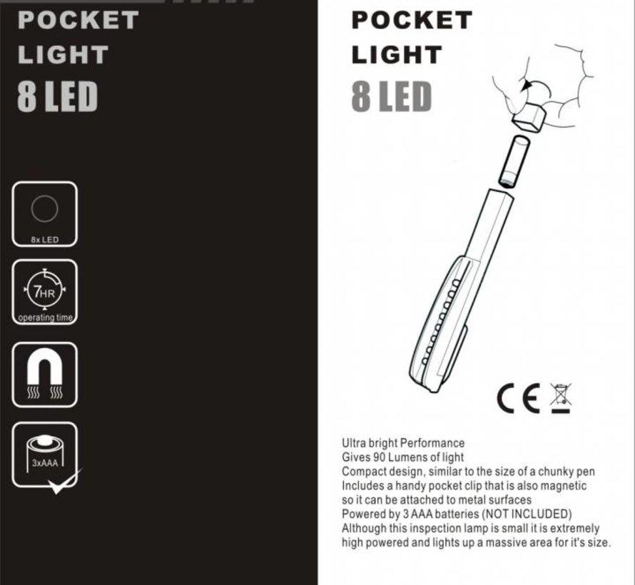 8 LED Mini Taschenlampe mit Magnetfuß