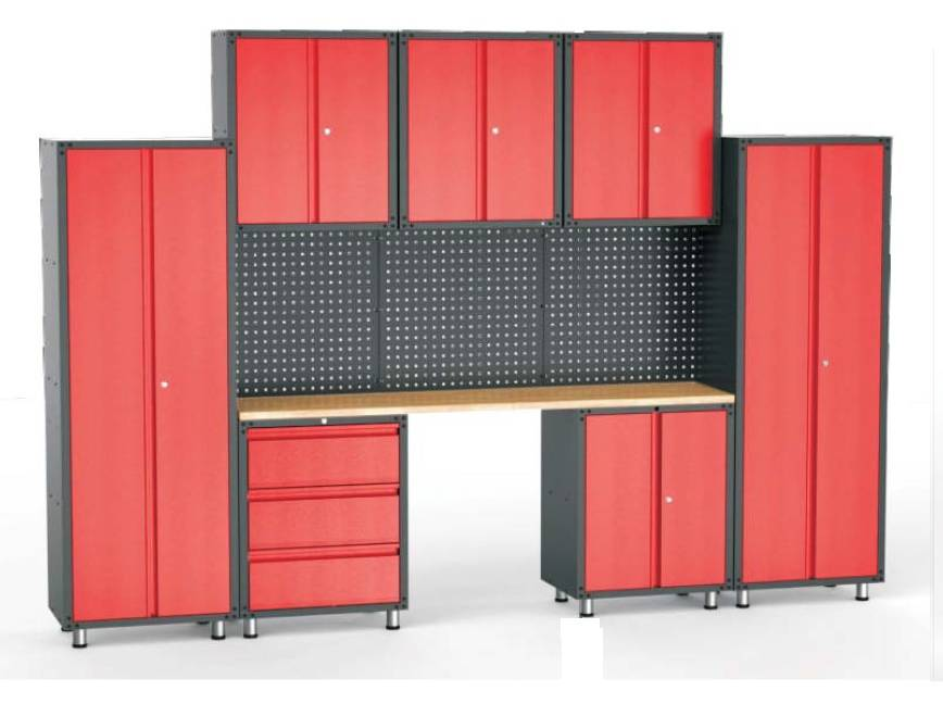 complete garage inrichting met werkbank en. Black Bedroom Furniture Sets. Home Design Ideas