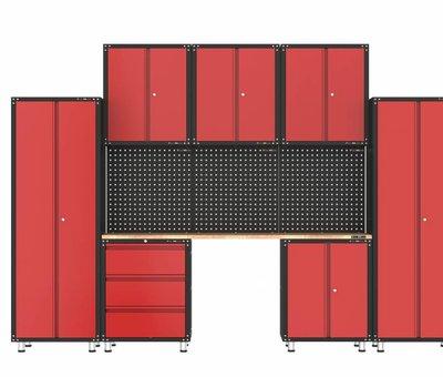 TM Complete garage inrichting met werkbank en gereedschapskasten 11 delig