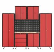 TM Complete garage inrichting met werkbank en gereedschapskasten 9 delig
