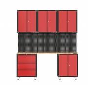 TM Komplette Garage Vorrichtung mit Werkbank und Werkzeugschränken 9 Stück