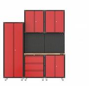 TM Complete garage inrichting met werkbank en gereedschapskasten 8 delig