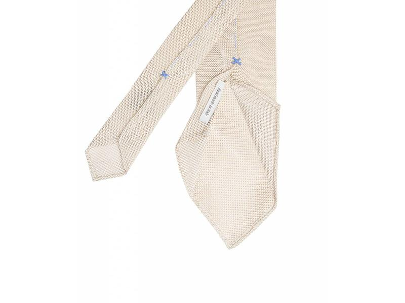 Profuomo Ecru open-weave 3-fold zijden das