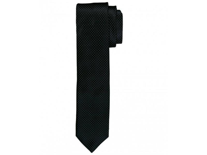 Profuomo Black dot skinny silk tie
