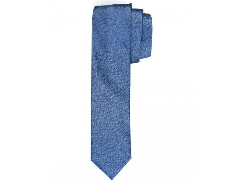Profuomo Blue melange skinny silk tie