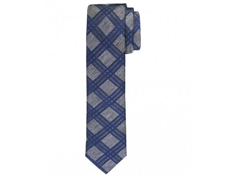 Profuomo Grey woven skinny silk-cotton tie