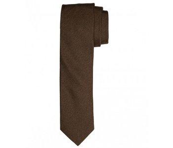 Profuomo Tabacco melange skinny silk tie