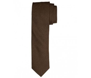 Profuomo Tabacco mélange skinny silk tie
