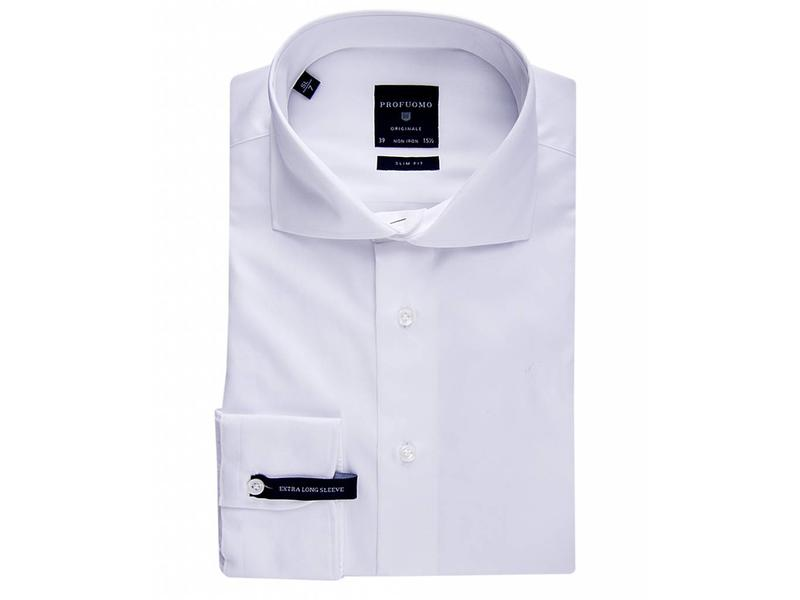 Profuomo Shirt White fine twill cotton extra long sleeve
