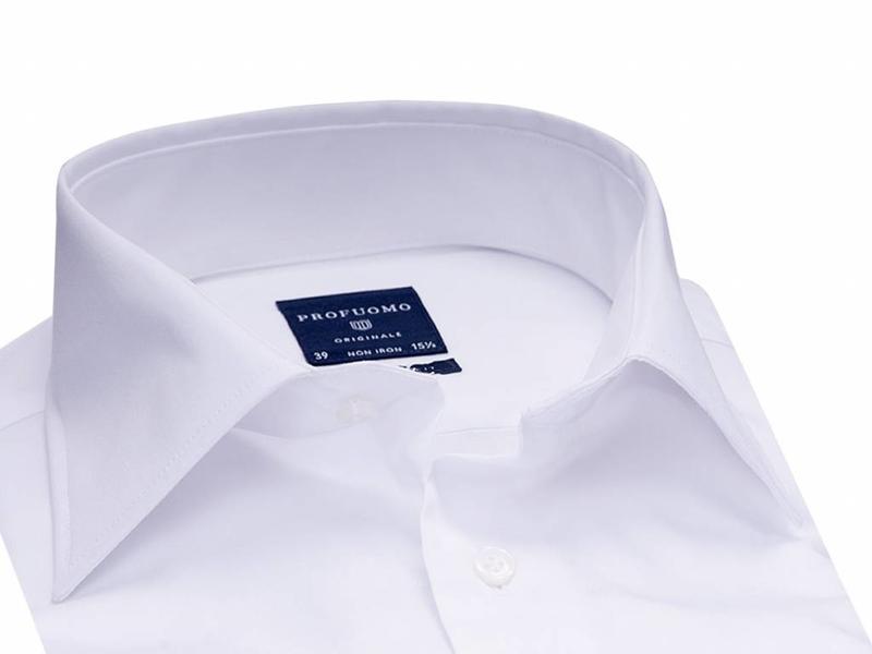 Profuomo Originale white widespread collar single cuff