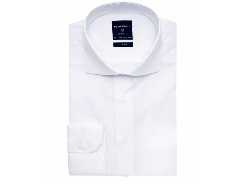 Profuomo Originale White basket weave cutaway collar