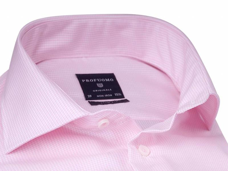 Profuomo Originale pink stripe check cutaway collar