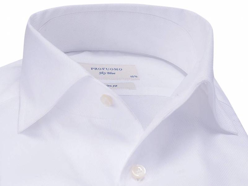 Profuomo Sky blue white one piece cutaway collar