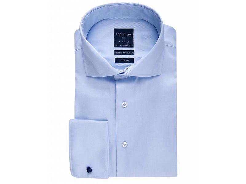 Profuomo Originale blue non iron cutaway collar slim fit