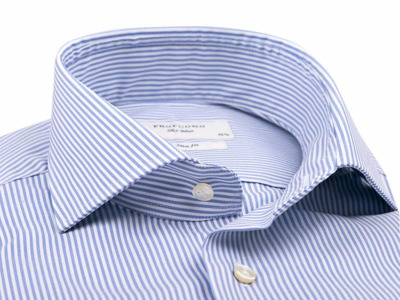 Profuomo Sky blue blue stripe extra long sleeve cutaway collar
