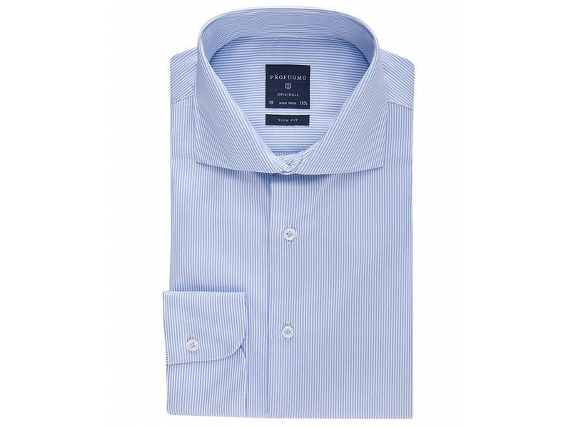 Profuomo Originale blue stripe cutaway collar