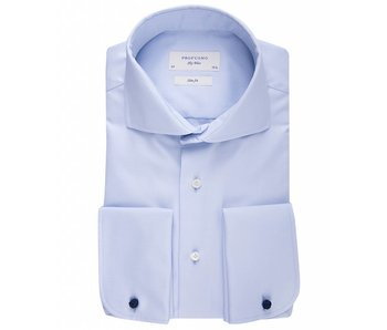 Profuomo Sky blue slim fit blue shirt double cuff