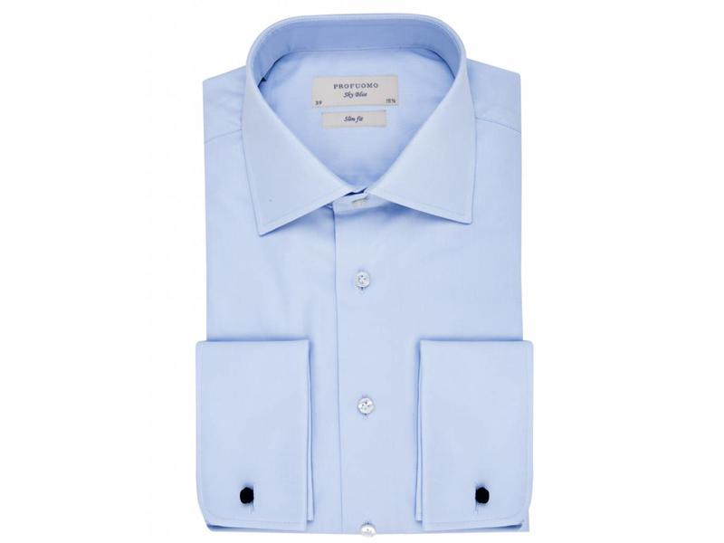 Profuomo Sky blue slim fit blue shirt double cuff widespread collar