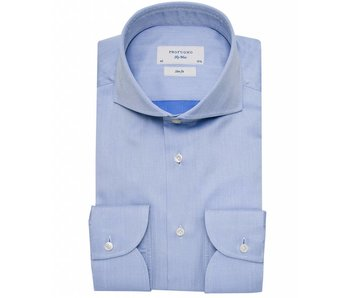 Profuomo Sky blue herringbone blue shirt cutaway collar