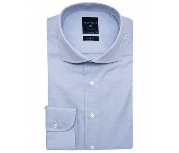 Profuomo Originale blue basket weave cutaway collar