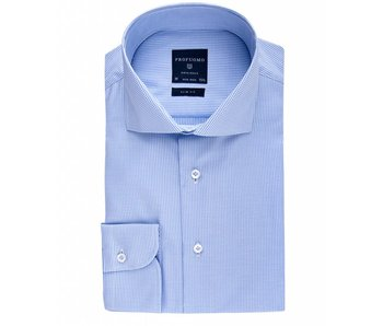 Profuomo Originale Blue check fine twill cotton cutaway collar