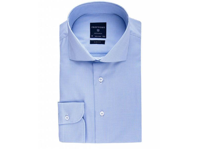 Profuomo Originale Blue check fine twill cotton cutaway collar