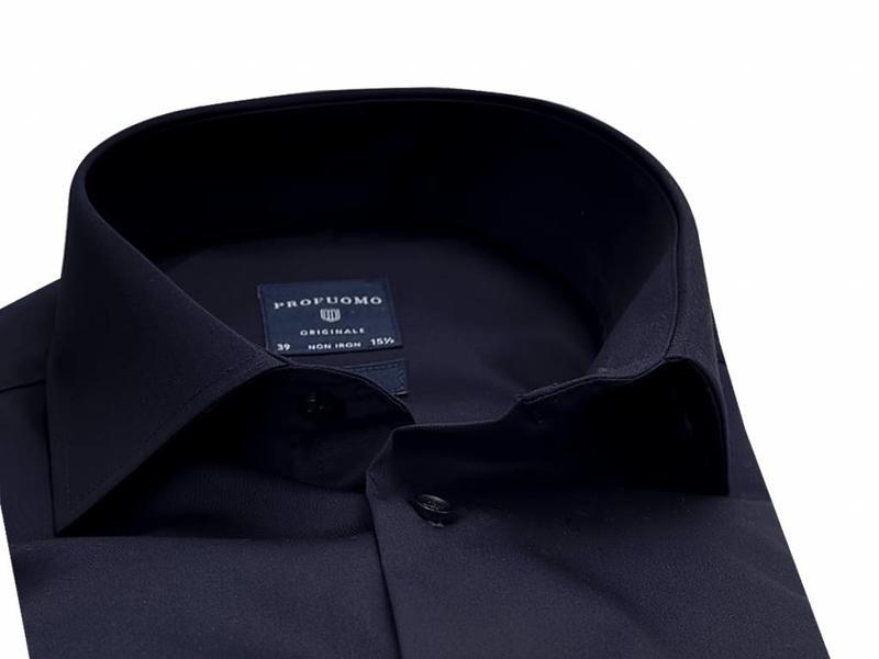 Profuomo Originale Black extra long sleeve cutaway collar