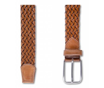 Profuomo Belt Leather Tub Braided Brown