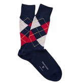 Profuomo Navy-red argyle cotton socks