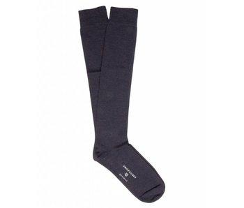 Profuomo Navy wool-silk knee socks
