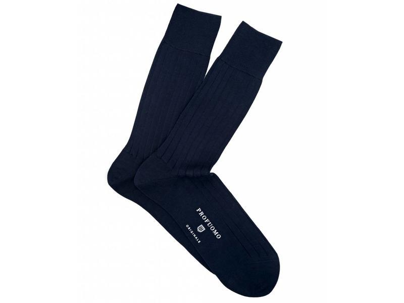 Profuomo Navy rib mercerised cotton socks