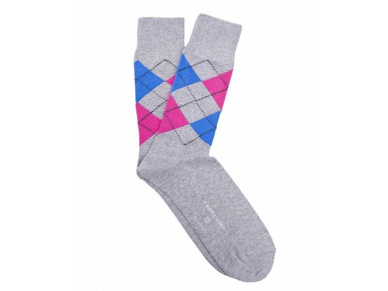 Profuomo Grey-pink argyle cotton socks
