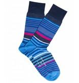 Profuomo Grey stripe mercerised cotton socks