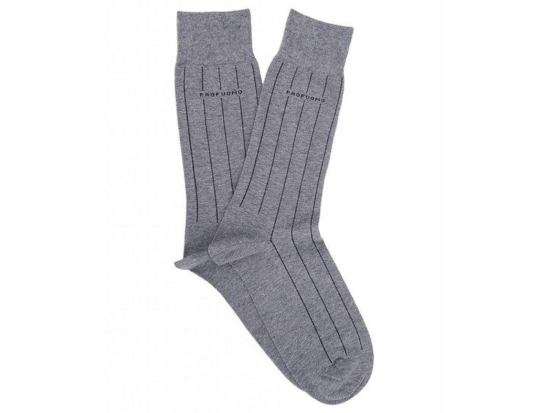 Profuomo Grey pinstripe cotton socks