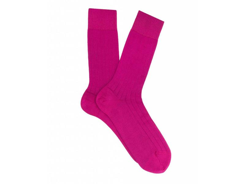 Profuomo Fuchsia rib mercerised cotton socks