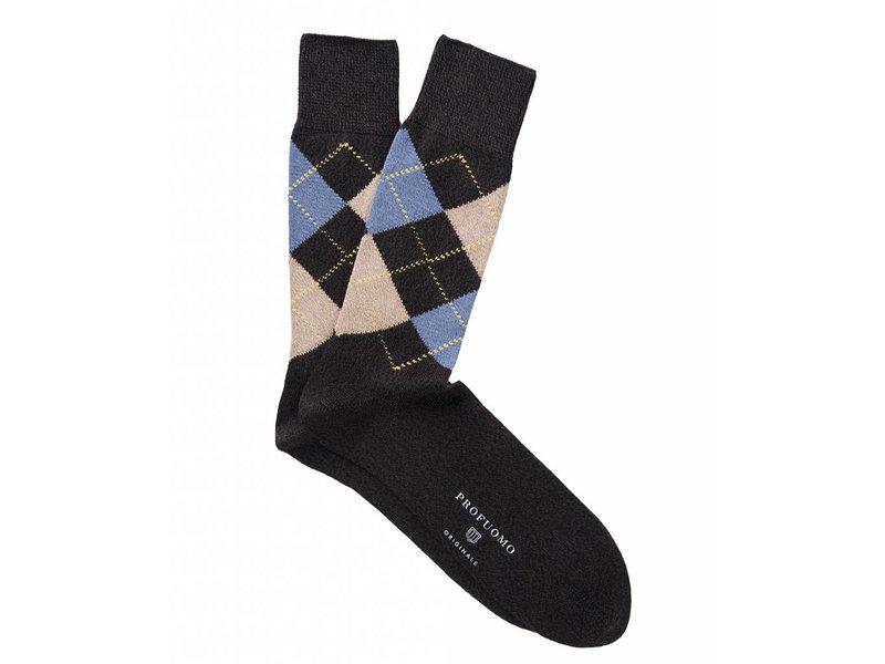 Profuomo Brown argyle cotton socks
