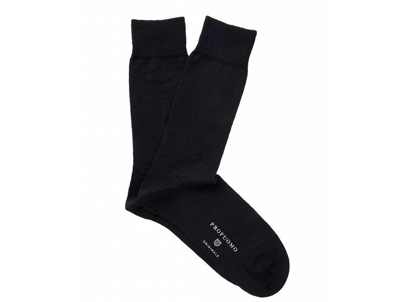 Profuomo Black solid cotton-wool socks