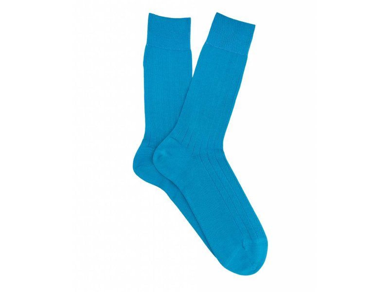 Profuomo Aqua rib mercerised cotton socks