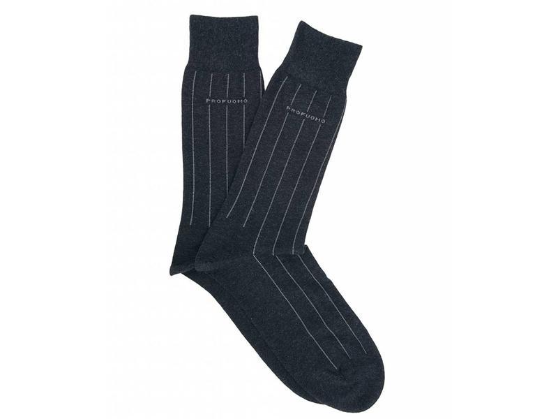 Profuomo Anthra pinstripe cotton socks